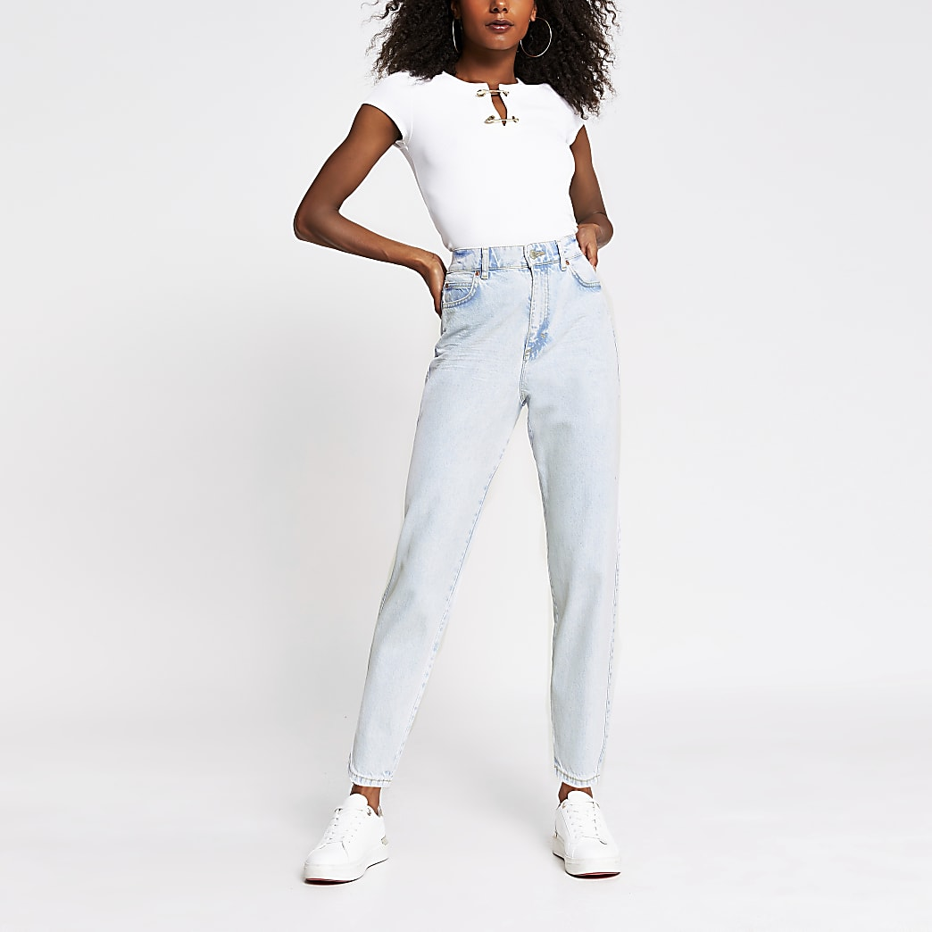 Light blue high waisted tapered jeans