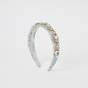 Light blue jacquard embellished headband