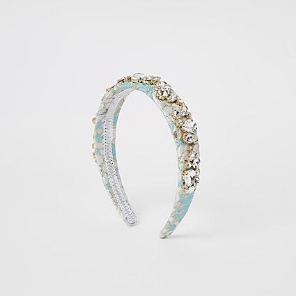 Light blue jacquard embellished headband