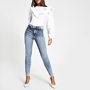 Kaia - Lichtblauwe high waist disco jegging