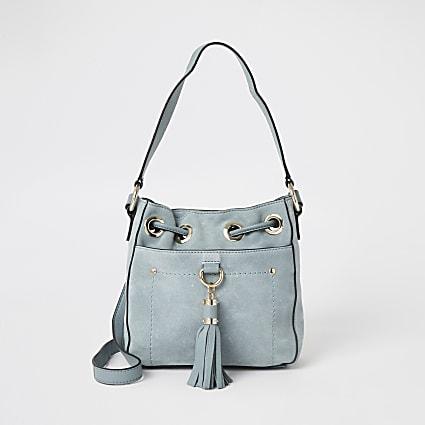 Light blue leather tassel mini duffle bag