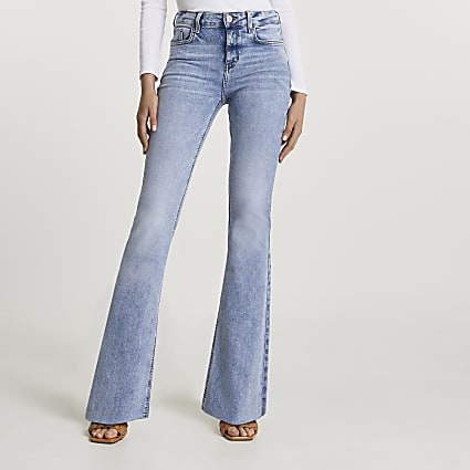 Light blue mid rise flare jeans