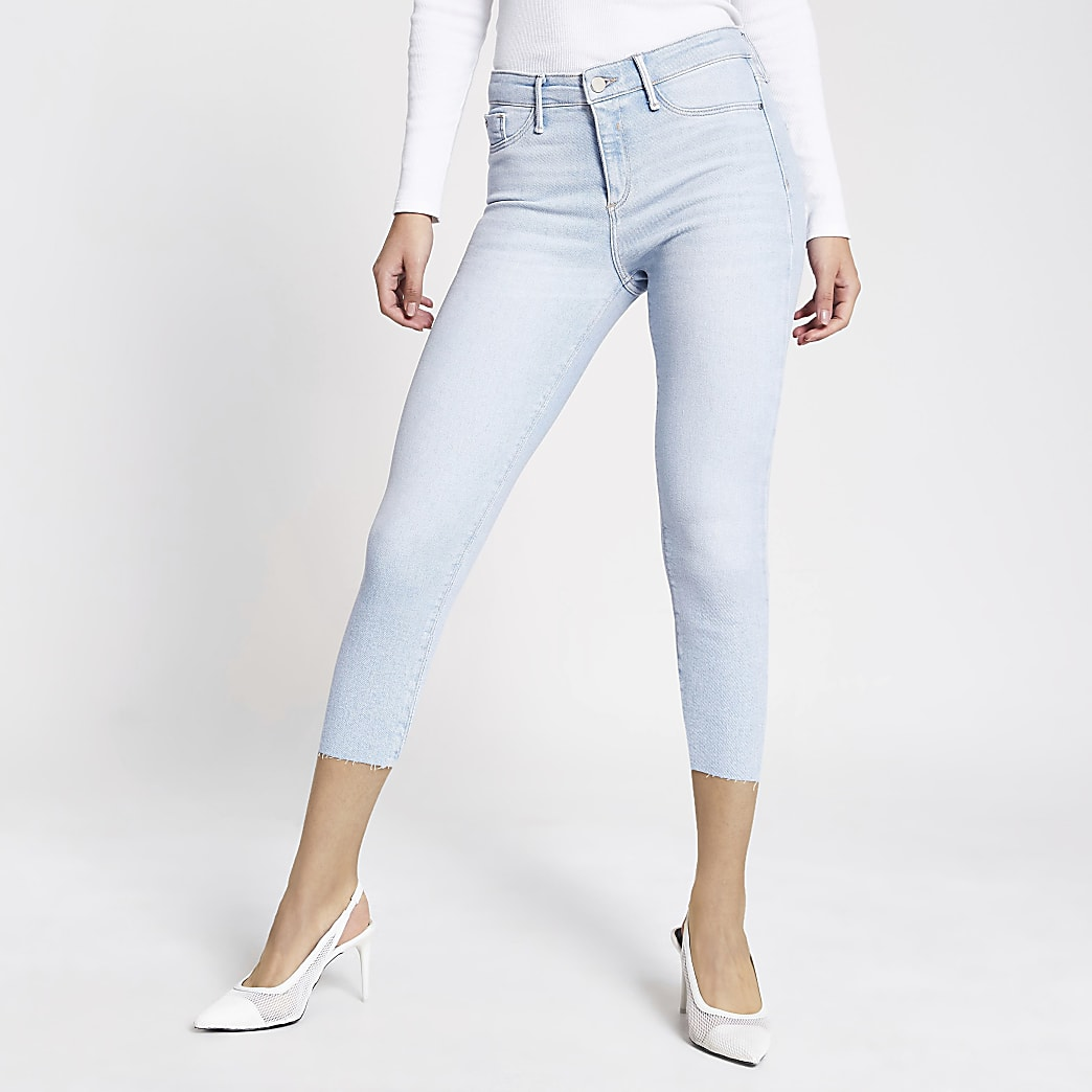 Light blue Molly mid rise cropped jeggings
