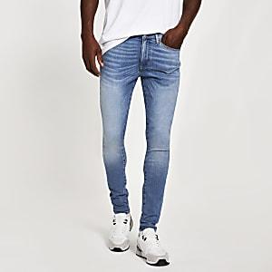 Ollie - Skinny Spray-on-Jeans in Hellblau