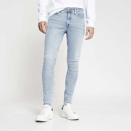 Light blue Ollie spray on super skinny jeans