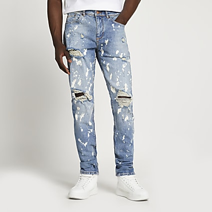 Light blue paint splat slim-skinny jeans