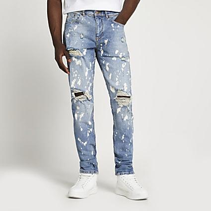 Light blue paint splat slim-skinny jeans