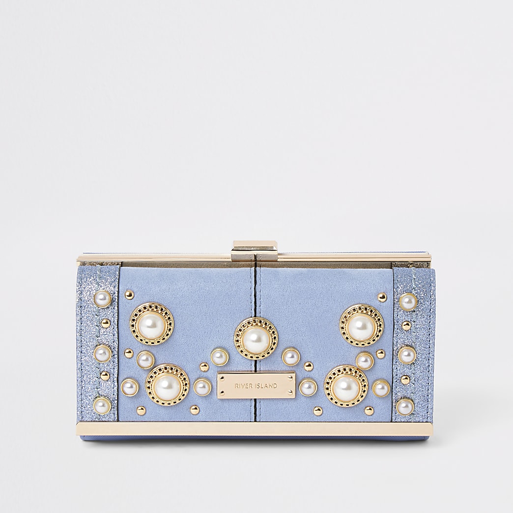 Light blue pearl embellished clip top purse