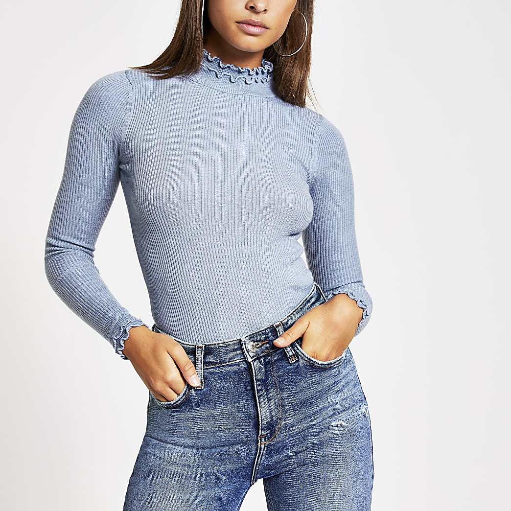 Light blue ribbed frill neck knitted top