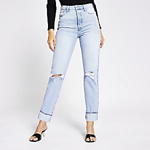 Lichtblauwe ripped super high rise rechte jeans