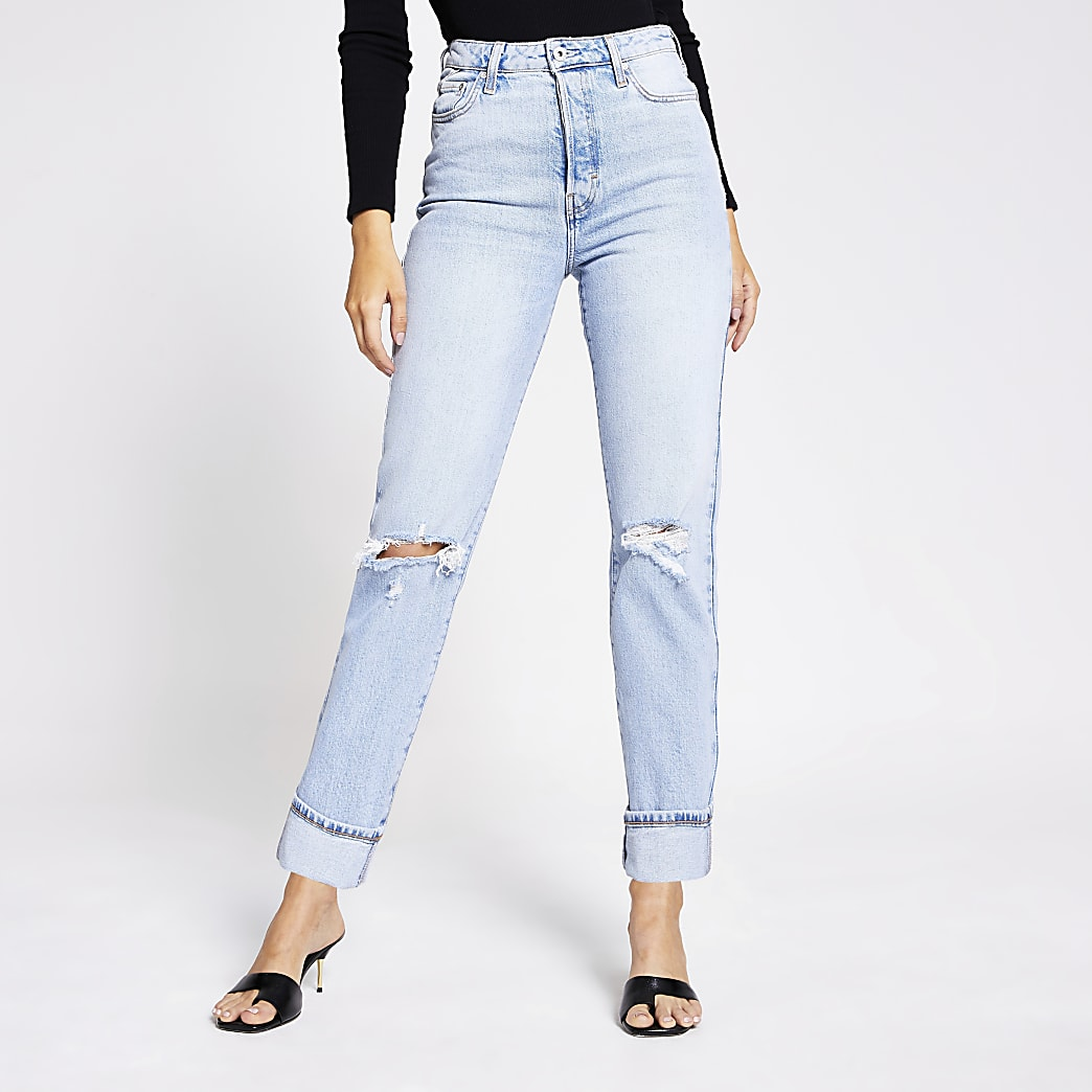 Light blue rip super high rise straight jeans