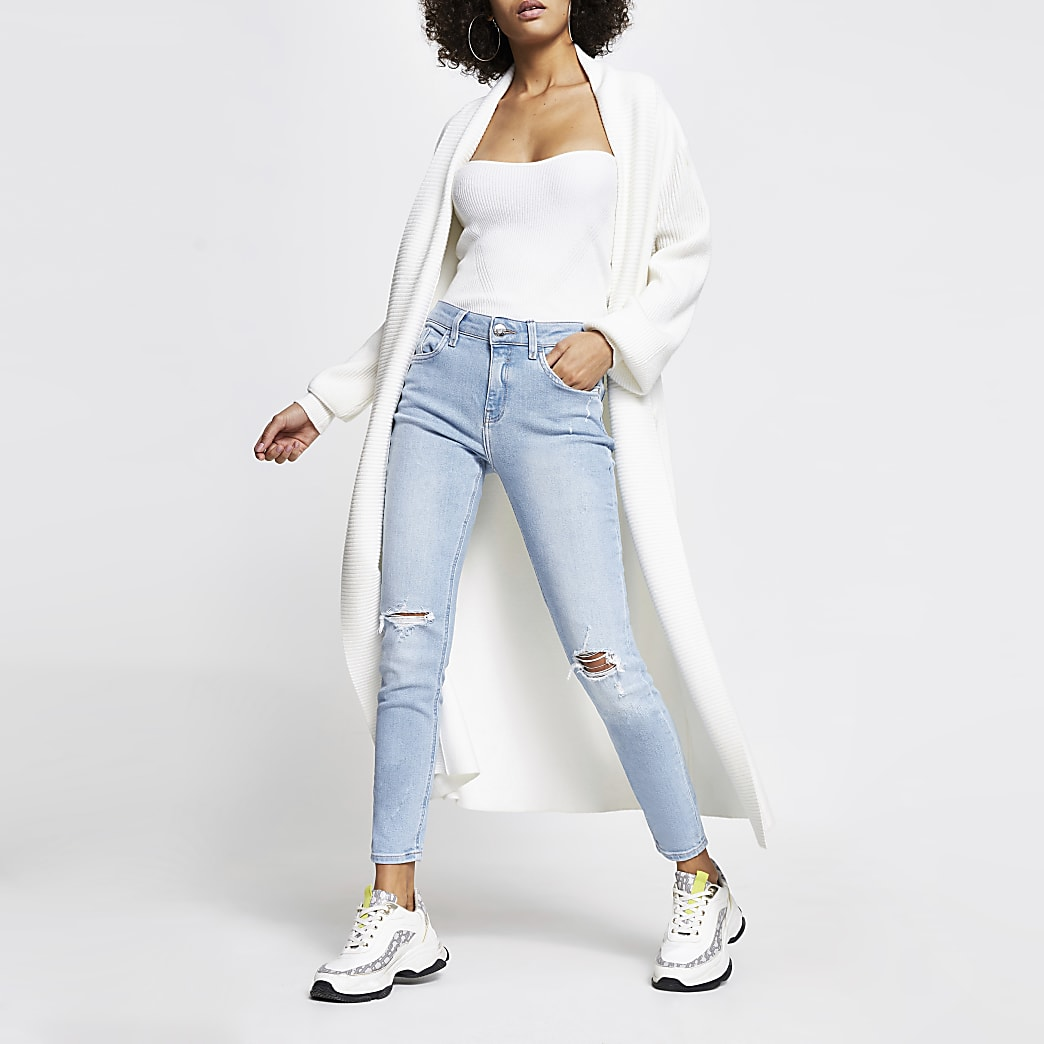 Light blue ripped Amelie mid rise skinny jean