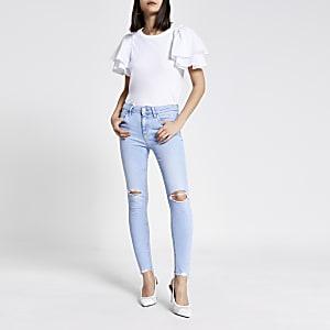 Amelie – Mittelhohe, hellblaue Skinny Fit Jeans im Used-Look