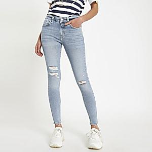 Lichtblauwe gescheurde Amelie superskinny jeans