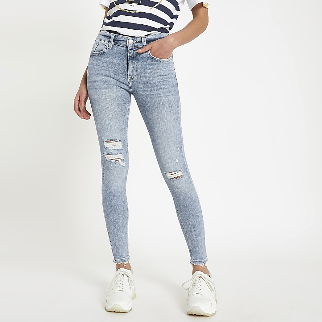 Light blue ripped Amelie super skinny jeans | River Island