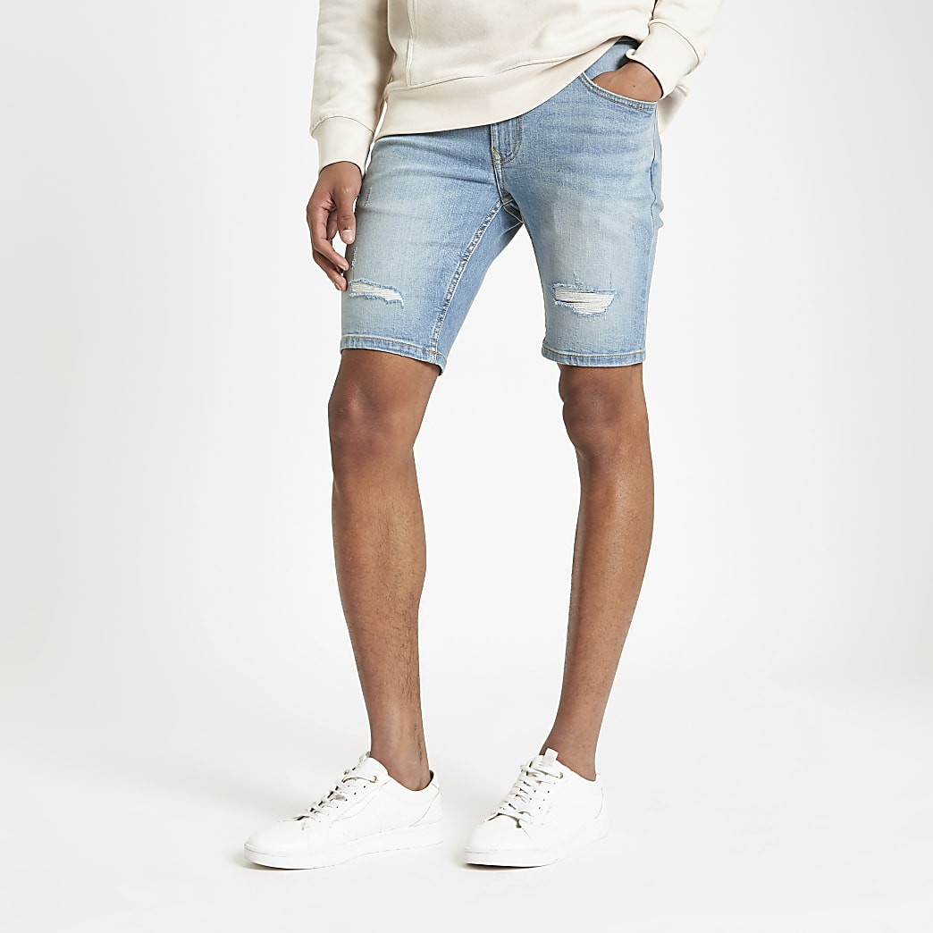 Sid - Lichtblauwe skinny ripped denim short