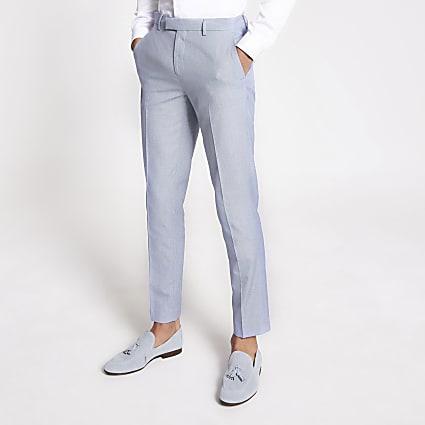 Light blue skinny linen trousers