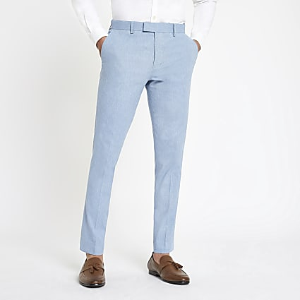 Light blue skinny suit trousers with linen