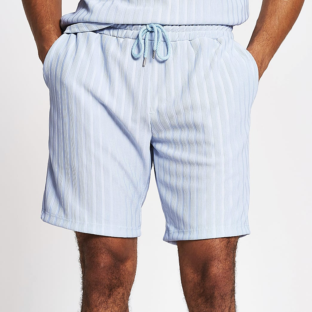 Light blue slim fit jersey rib shorts