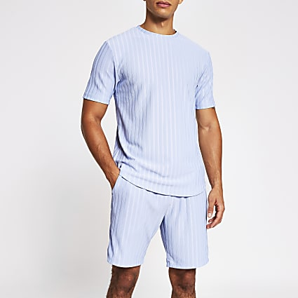Light blue slim fit rib T-shirt