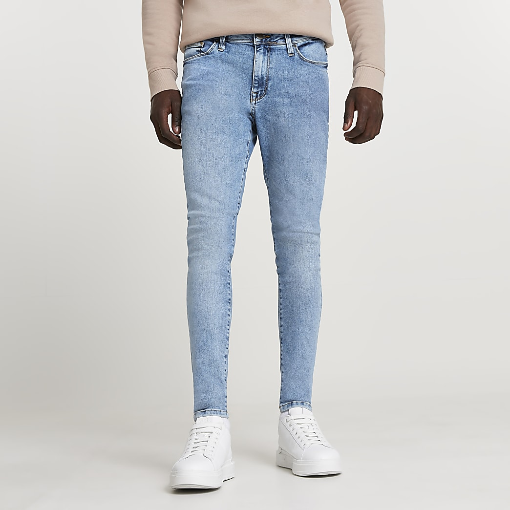 Light blue spray on skinny fit jean