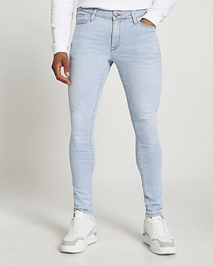 Light blue spray on skinny fit jeans