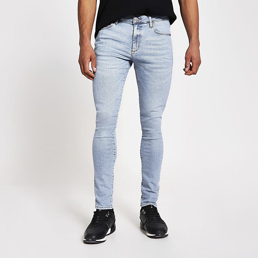 Light blue spray on skinny fit jeans