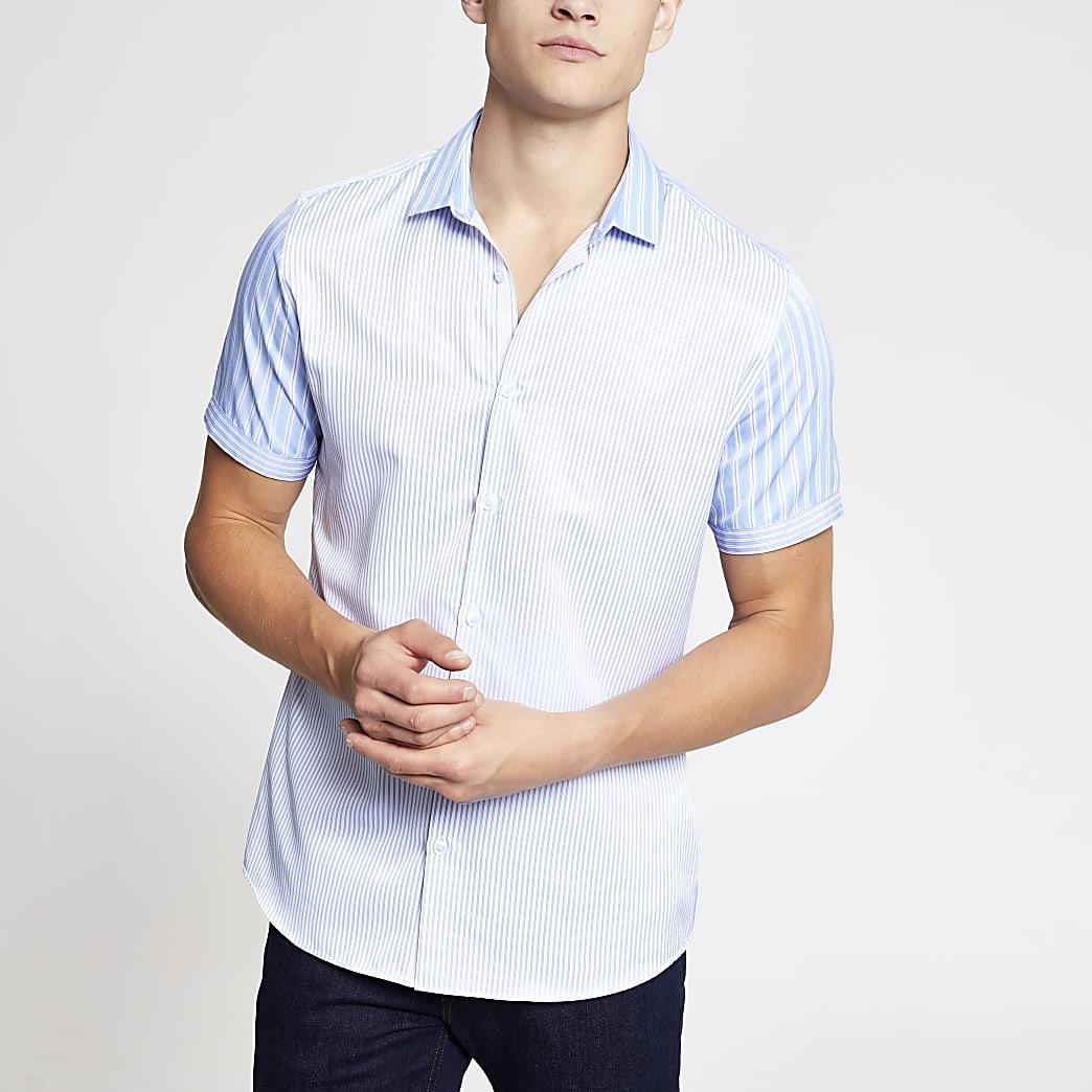 Light blue stripe short sleeve poplin shirt