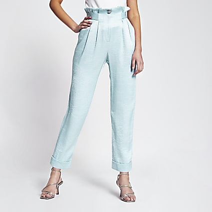 Light blue tab waist peg leg trousers