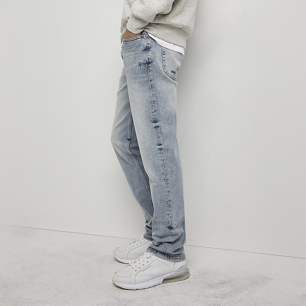 Light blue washed straight jeans