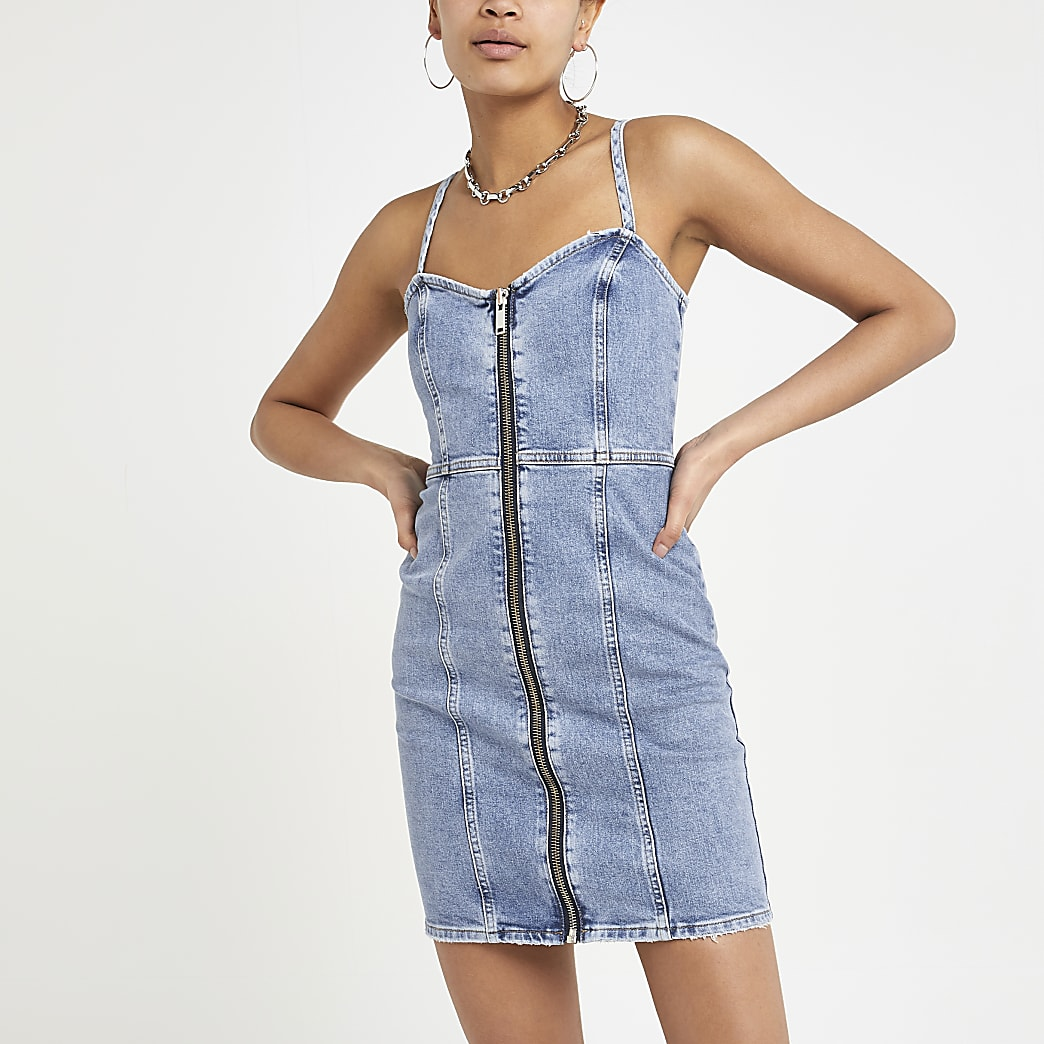 Light blue zip denim mini dress
