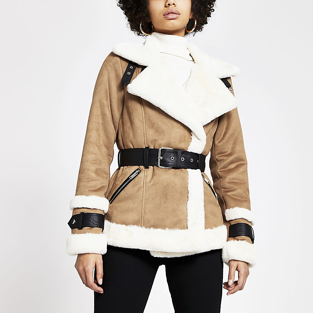 Light brown belted shearling jacket