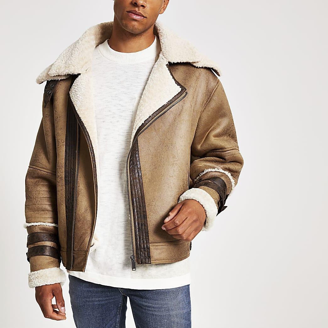 Light brown borg collar biker jacket