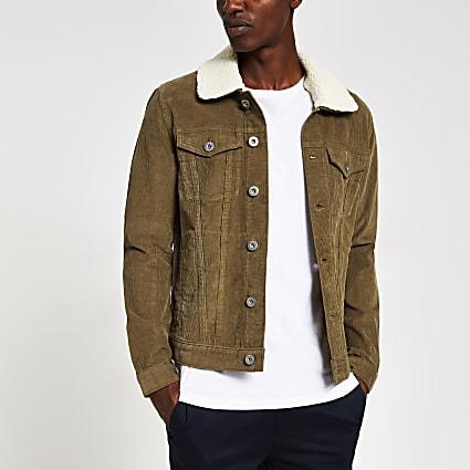 Light brown borg collar cord jacket