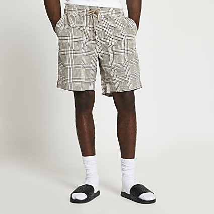 Light brown check shorts