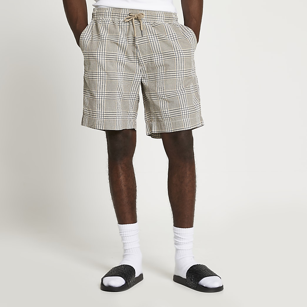 Light brown check shorts