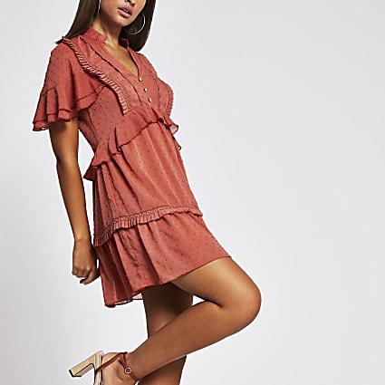 Light brown frill trim mini dress