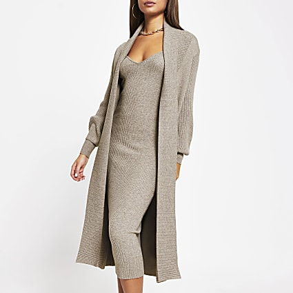 Light brown long sleeve knitted maxi cardigan