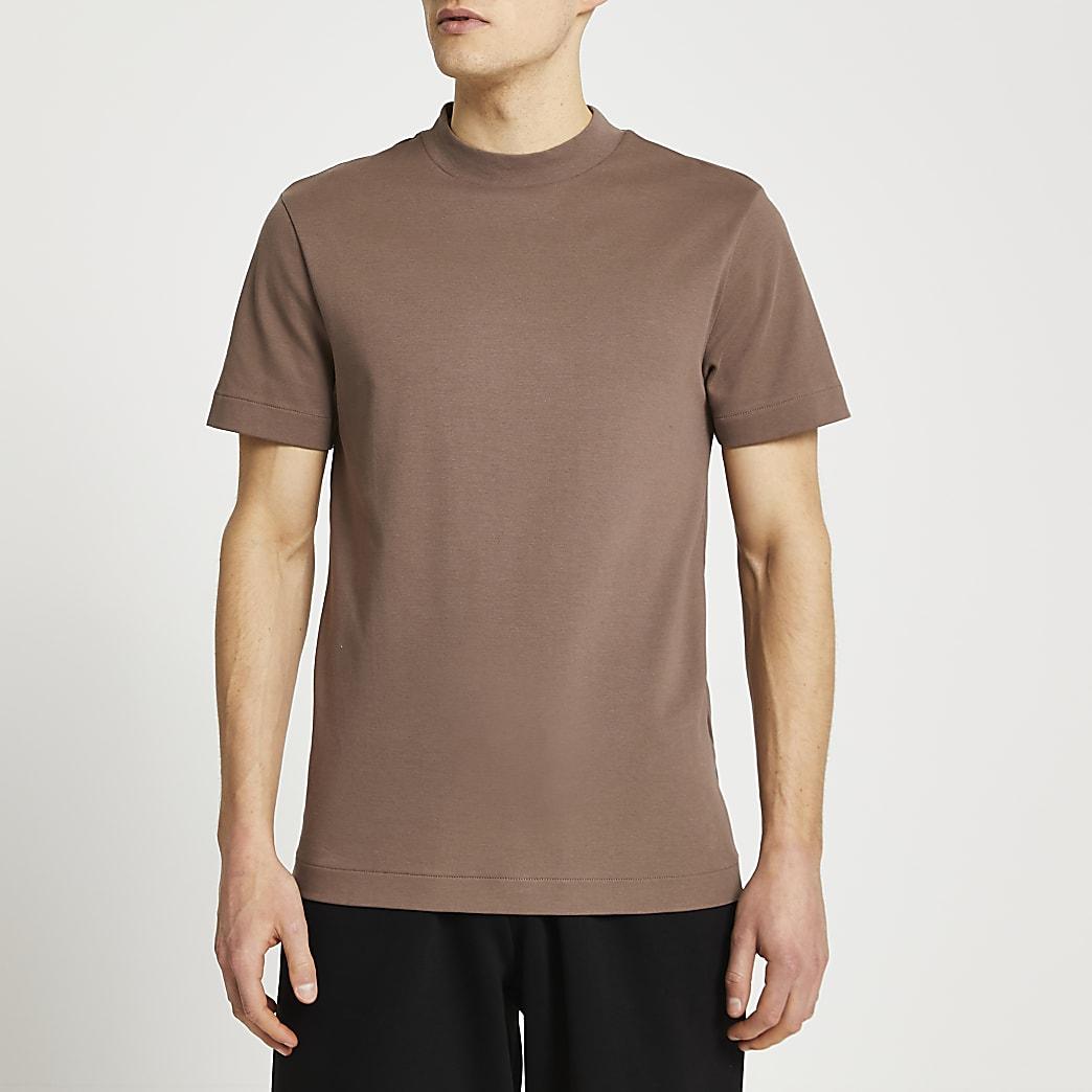 Light brown premium regular fit t-shirt