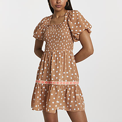 Light brown puff sleeve square neck dress