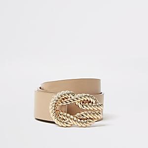Hellbrauner Gürtel mit Schnalle im Seil-Design