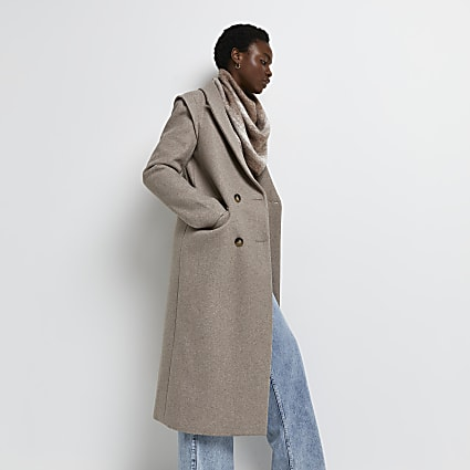 Light brown rouched sleeve blazer