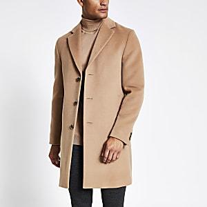 Einreihiger Mantel in Hellbraun