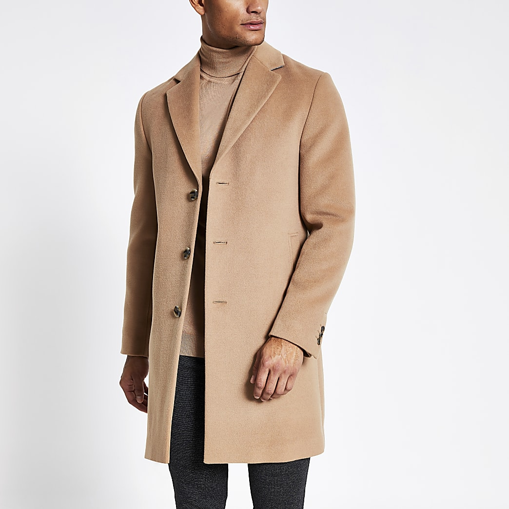Light brown single breasted overcoat