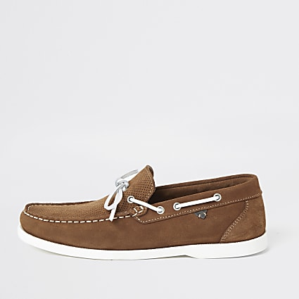 Light brown suede boat shoes