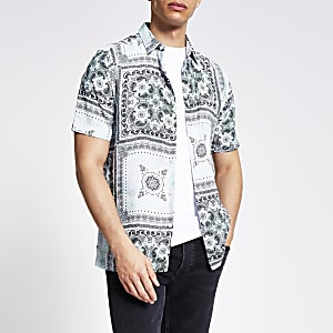 Lichtgroen slim-fit overhemd met bandana-print