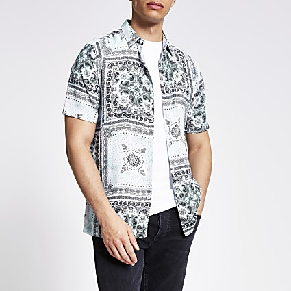 Light green bandana print slim fit shirt