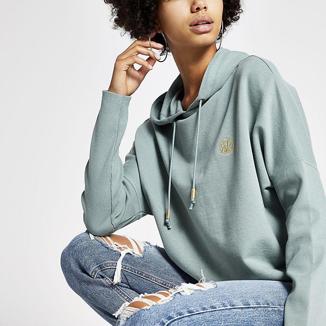 Light green batwing sleeve hoodie
