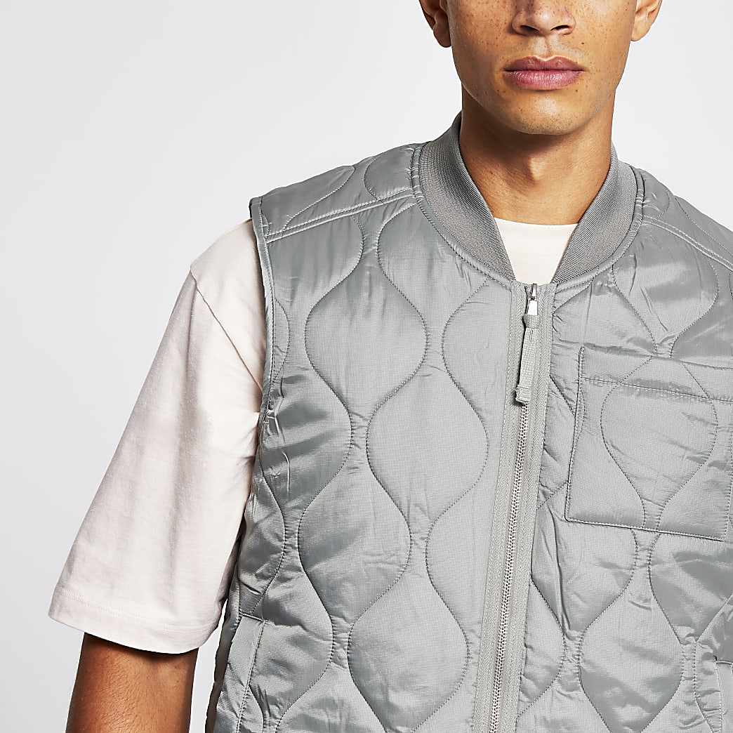 Light green bomber neck quilted gilet