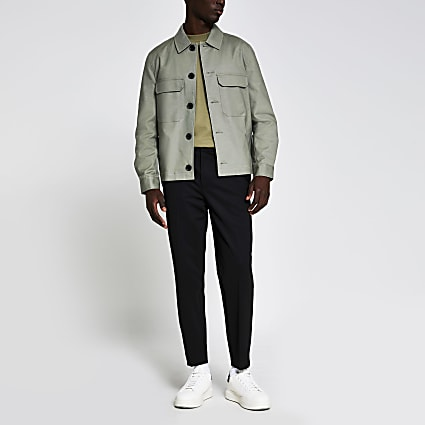 Light green chest pocket overshirt jacket